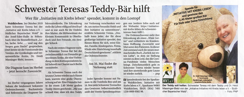 PNP-Pressebericht über Schwester Teresas Bär hilft