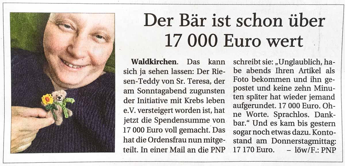 Spendenaktion Schwester Teresas Bär hilft - Pressebericht vom 21.05.2021