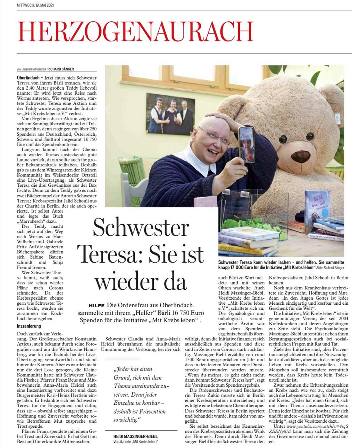 Spendenaktion Schwester Teresas Bär hilft